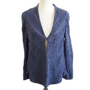 Giorgio Armani Blue Silk Textured Jacket Size 44